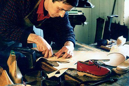 Godfrey at work - clog and shoe making workshop, Castle Douglas