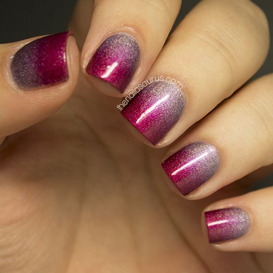 Beautiful cherry red sponged over what I think is a holographic lilac colour - Really pretty! The Most Creative Nails Art You've Ever Seen