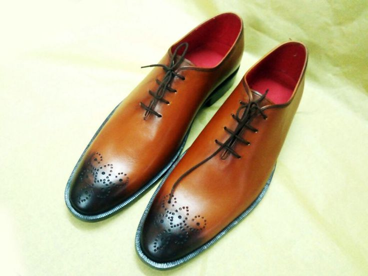 Handmade Oxford Brogue Men's Shoes Formal Leather Office Brown whole Cut Shoes  #Unbranded #Oxfords #Formal
