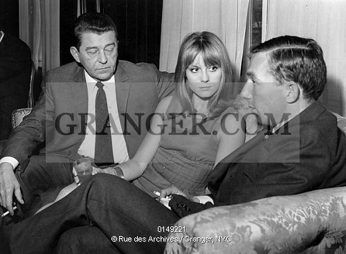 This is a Granger licensable image titled 'LA SEMAINE DU CINEMA FRANCAIS IN 1964. The week of the french cinema in Madrid with the french actor Jean Servais, the french actress Francoise Dorleac and the director Philippe de Broca on february 19th, 1964. Full credit: AGIP - Rue des Archives / Granger, NYC -- All rights reserved. ' by GRANGER All rights reserved. You may not copy, publish, or use this image except for sample layout ('comp') use only. You must purchase the ...