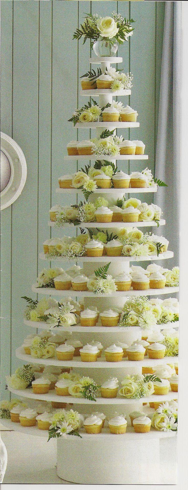 Yellow and White Cupcake Tower