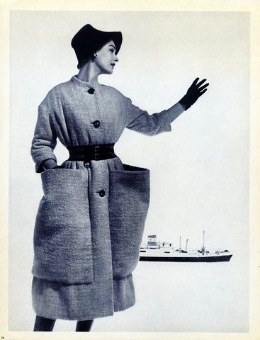 Elsa Schiaparelli, 1952. Photo: Georges Saad, Coat with wide Pockets.