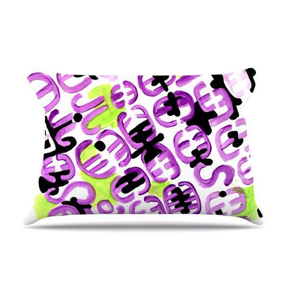 "Theresa Giolzetti ""Theodora's Mood"" Green Purple Pillow Case"