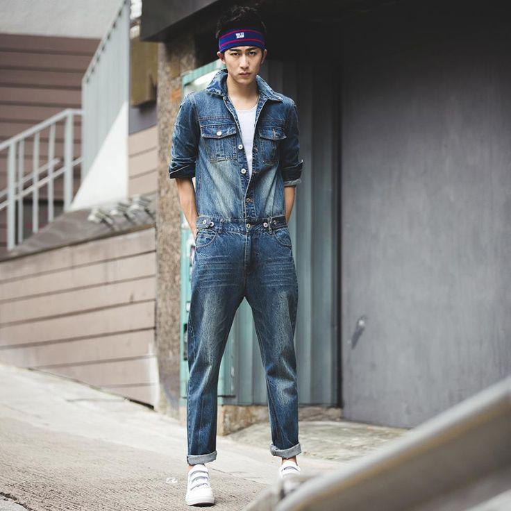 guys #jumpsuit | Fashion men jeans 2015 casual denim overalls men one piece quality men