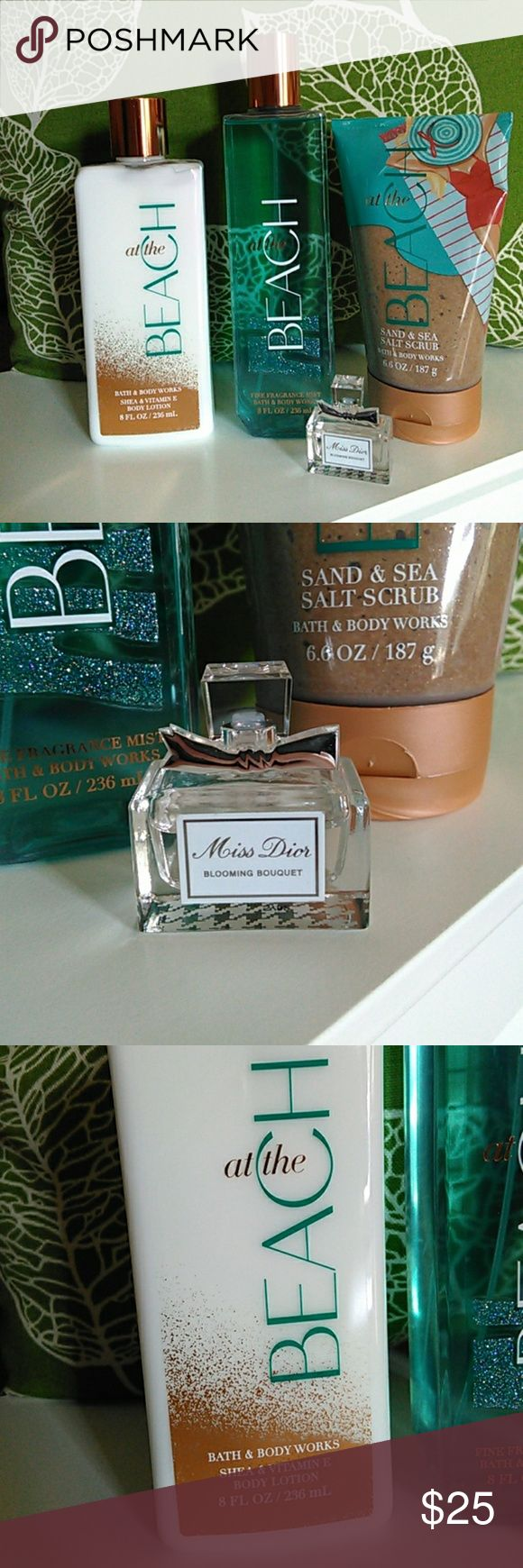 Miss Dior Perfume and NWT shower set at the Beach 🏖️ shea body lotion, body spray, and shower scrub from Bath and Body Works ALL NWT. Comes with **slightly** used Miss Dior Blooming Bouquet perfume for travel!!!! See pics!! This is a **really** good deal, so I'm pretty firm on the price. Bundle to save money! Comes with a Dior gift bag :) **Smoke free home 🚭** Christian Dior Other