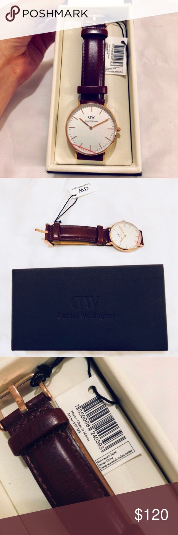 Daniel Wellington Classic St. Mawes Reposh! The seller guaranteed authentic. I bought this for my boyfriend but it was the wrong size. Rose gold and brown leather band. The band is interchangeable. It is a classic, minimalist must have watch in absolutely perfect condition!   My wrist is too small or I would keep it myself! All pictures are of the actual watch in my possession. Please let me know if you have any questions! Open to offers. Just trying to make some money back! Daniel…