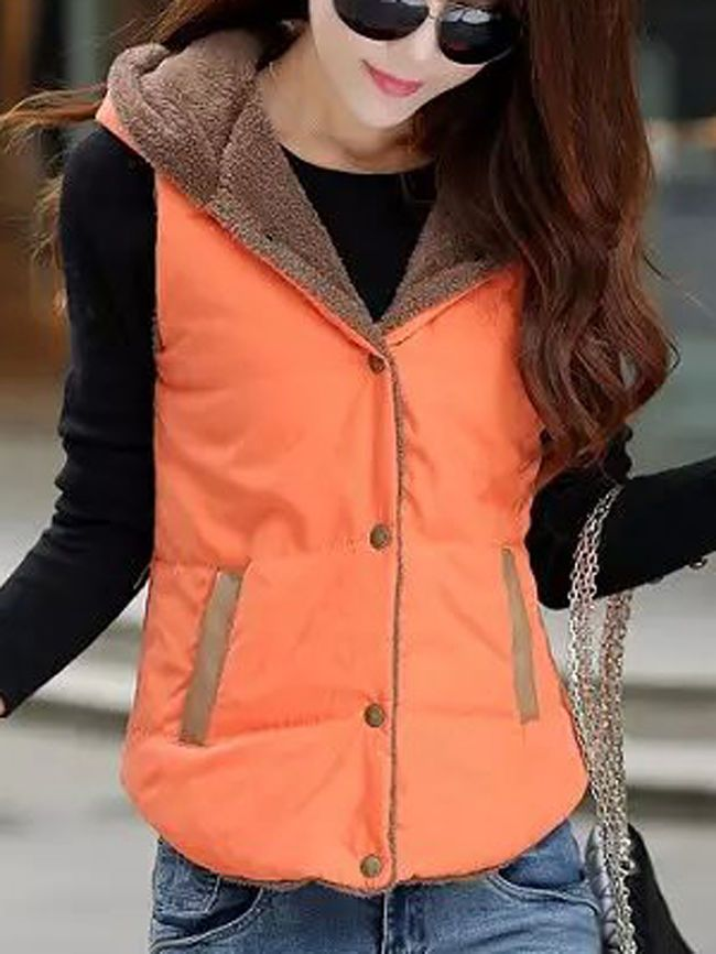 Hooded Fleece Lined Pocket Waistcoat