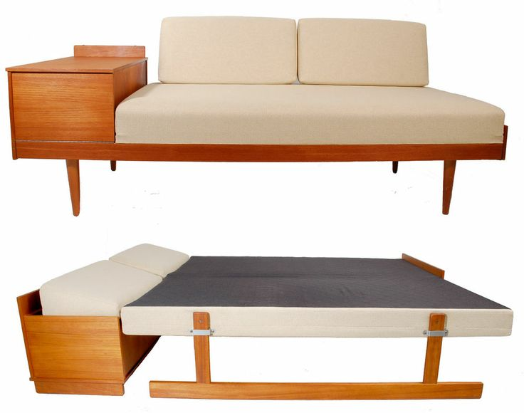 Exceptional mid century danish modern teak fold out daybed sofa by ...