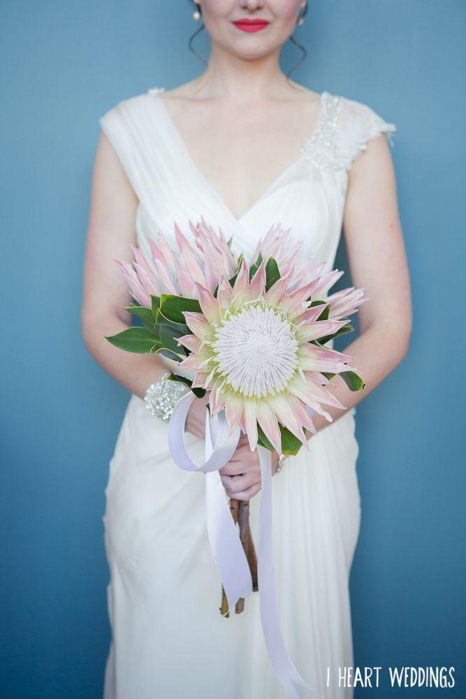 Protea flower bouquet wedding bride Photo: www.iheartweddings.com.au