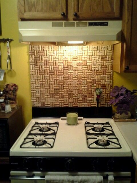 finished the wine cork backsplash for behind my stove