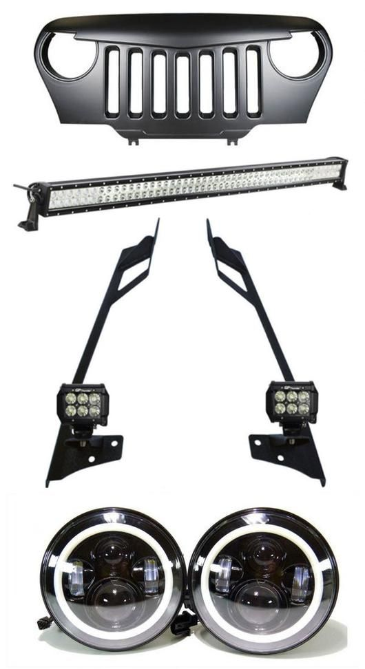 Jeep Wrangler TJ Mega Combo 50 Inch Lightbar with Pillar Mount, 2x 4 Inch Pods, LED Halo Headlights, Angry Grille for TJ (1997 - 2006)