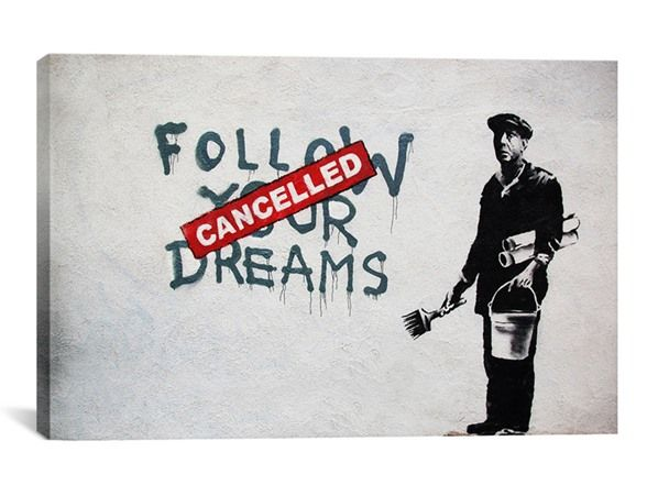 Dreams Cancelled by Banksy Canvas Print - Home & Kitchen