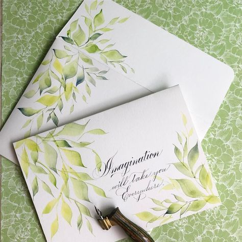 644 отметок «Нравится», 26 комментариев — Sue (@oliveleafcalli) в Instagram: «This matching watercolor and calligraphy envelope and card set was so fun to work on. #spencerian…»