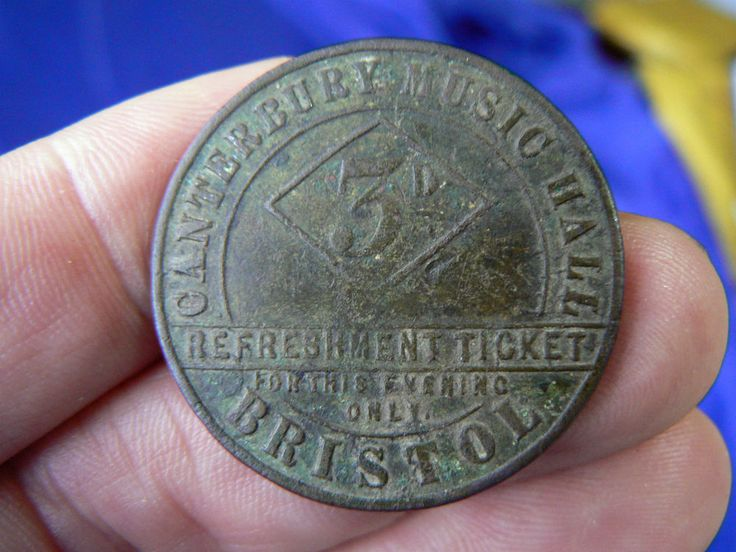 RARE BRISTOL CANTERBURY MUSIC HALL THREEPENCE TOKEN CIRCA 1859