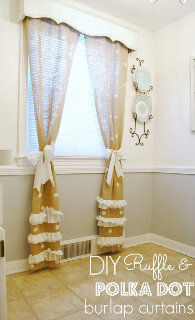 DIY Polka Dot Burlap Curtains - www.classyclutter.net