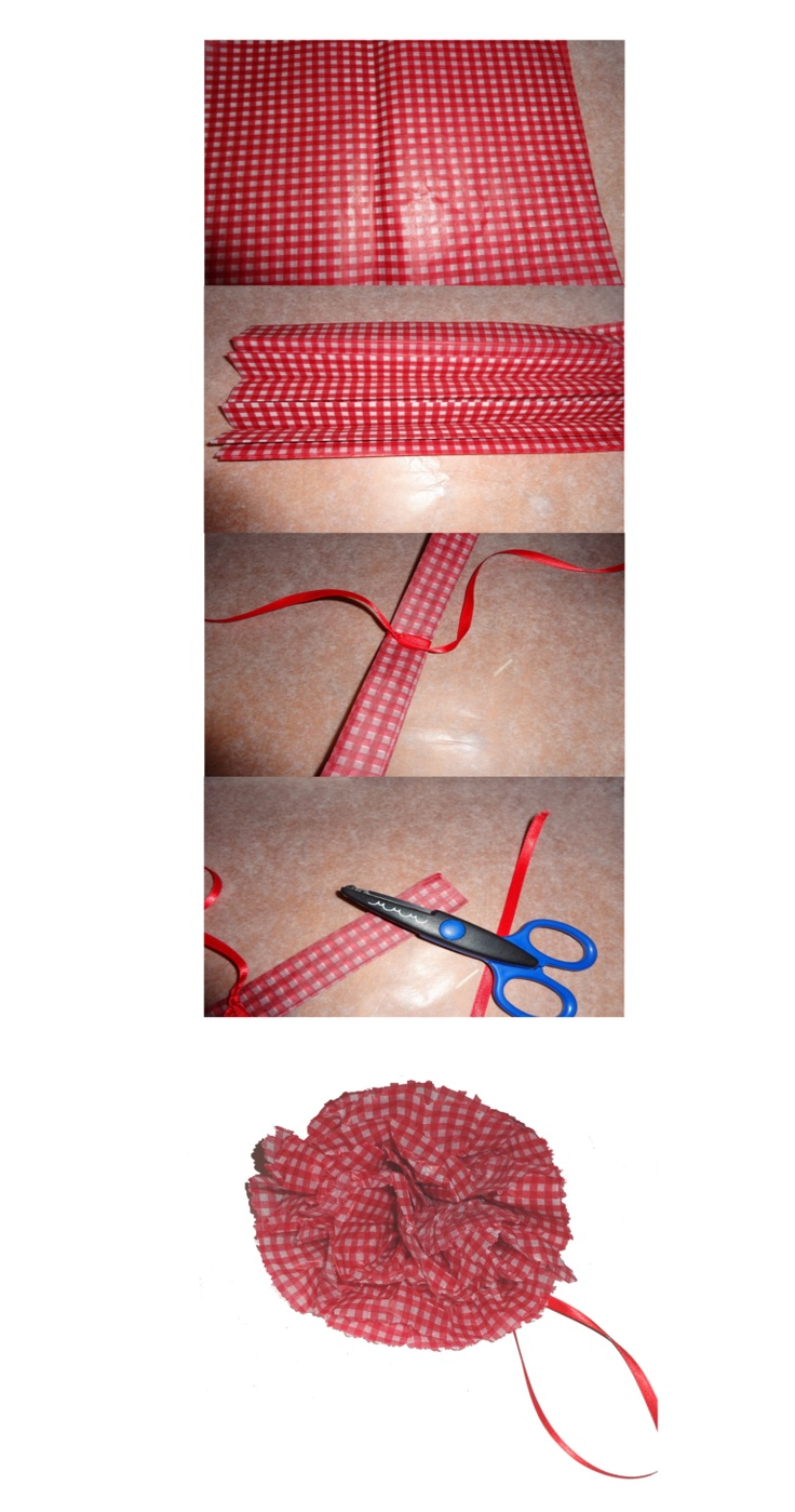 Making a waxed paper red and white gingham flower or bow for table decorations or package decoration.
