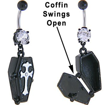 Cubic Zirconia BLACK Plating COFFIN Dangle Belly Ring   Body Candy Body Jewelry #bodycandy #piercings #bellyring