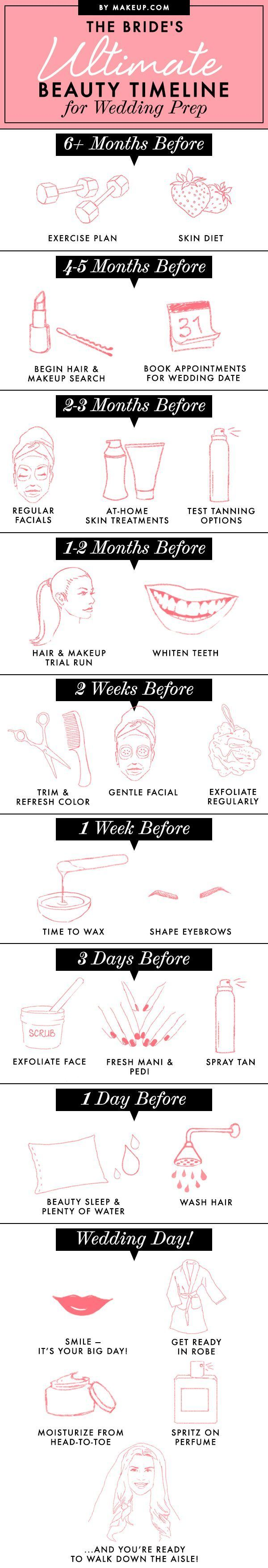 So, you're engaged. Now what?! Our bridal beauty timeline will get you on track to looking extra flawless on your big day!
