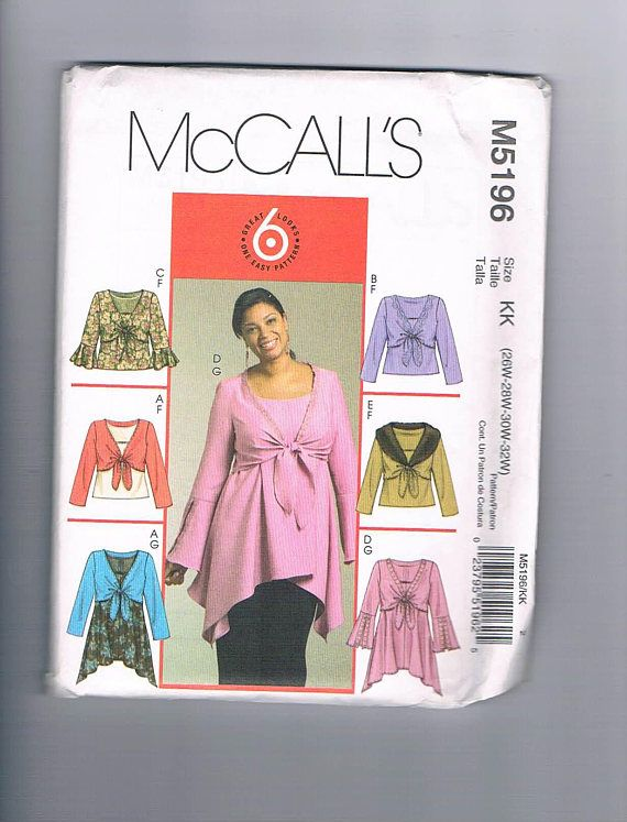 McCall's M5196 Women's Plus Sized Shrugs Top and
