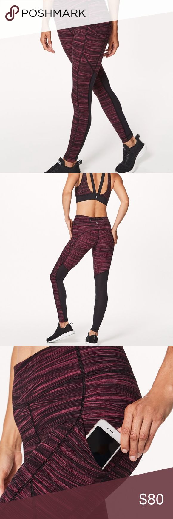 Lululemon Speed Tight V New with tags speed tights from Lululemon. Color is called low tide Blush berry black. I found these on MD at a local store but they are still full price ($108) online. Size 6. Perfect for running, just trying to clean house. lululemon athletica Pants Leggings