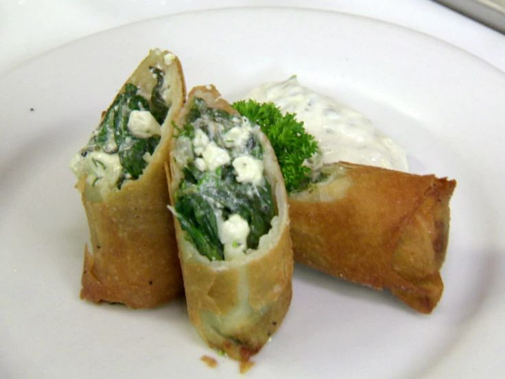 Spanakopita Eggrolls from FoodNetwork.com: Food Network, Eggs Rolls, Eggrol Recipe, Feta Eggrol, Greek Inspiration, Irvine Recipe, Easy To Follow Spanakopita, Foodnetwork Com, Spanakopita Eggrol