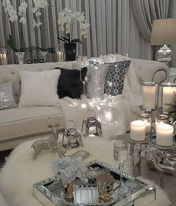 Over the top gray black white cream creme cozy living room silver