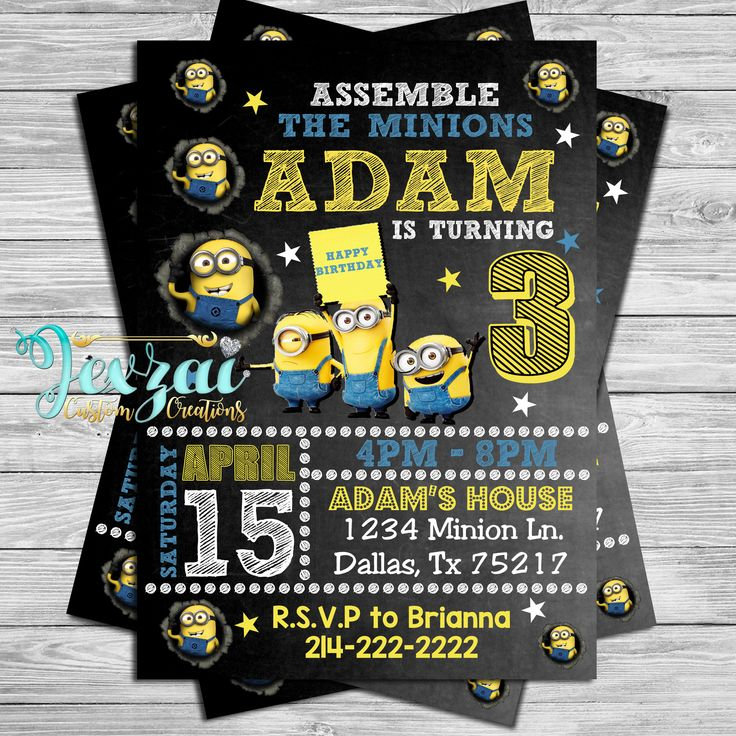 Minion Birthday Invitation | Minion Party Invitation | Minion Card | Chalkboard Minion Invitation by JexzaiCC on Etsy https://www.etsy.com/listing/531703581/minion-birthday-invitation-minion-party