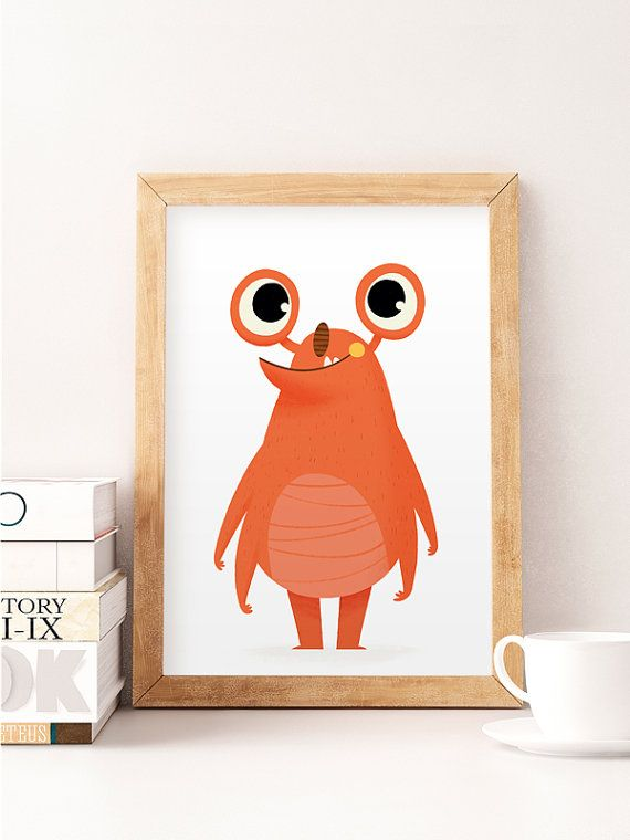 Kids room decor Nursery print Illustration monster by NorseKids