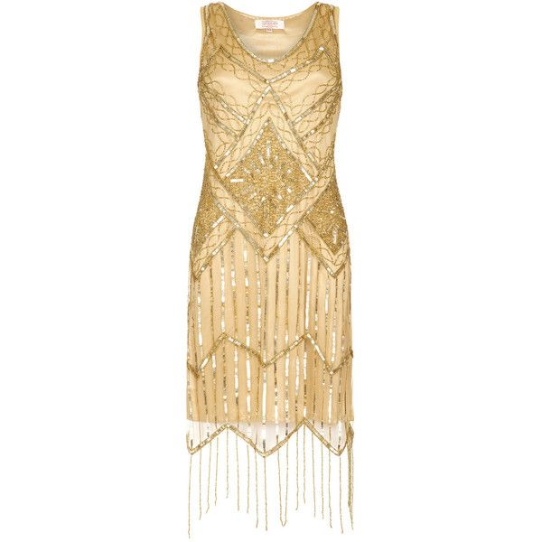 PETITE Length UK4 US0 AUS4 Isobel Gold Vintage inspired 1920s Flapper... ($125) ❤ liked on Polyvore featuring dresses, gold dress, 1920s gatsby dress, vintage style bridesmaid dresses, sparkly bridesmaid dresses and gold sparkly dress