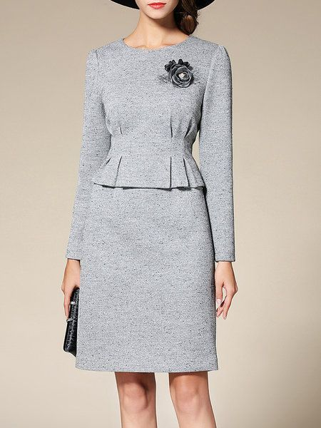 Shop Midi Dresses - Gray Crew Neck Ruched Two Piece Long Sleeve Midi Dress online. Discover unique designers fashion at StyleWe.com.