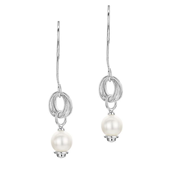 Pearl and 9K White Gold Earrings -  H4564