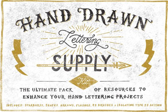 Hand Drawn Lettering Supply Kit by Vintage Design Co. on Creative Market