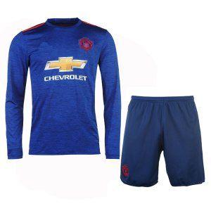 16-17 Manchester United Football Shirt Away Cheap Long Sleeve Replica Kit (Shirt+Shorts) [G248]