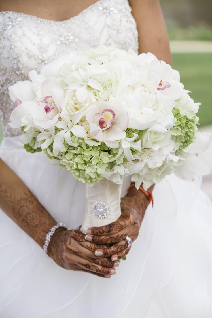 White Orchid, Green Hydrangea Bridal Bouquet