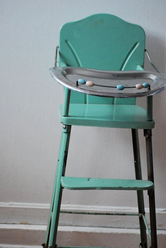 Vintage metal baby doll high chair by sweetbread