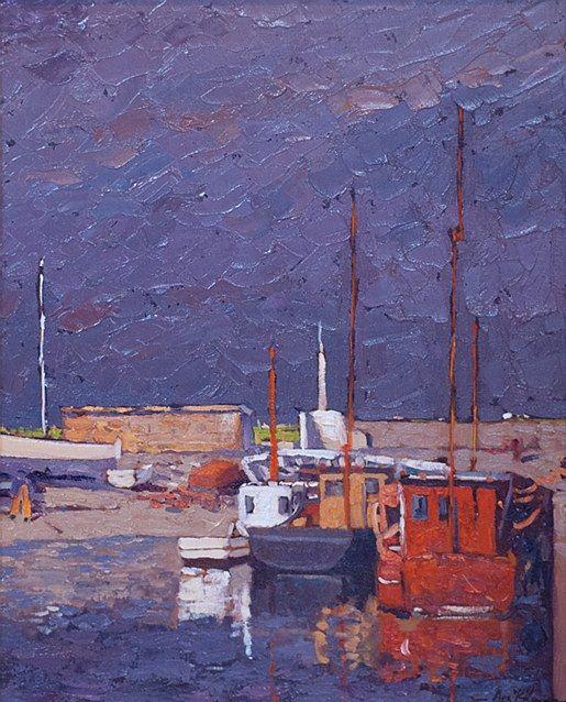 Alex McKenna-Poirtin Harbour  #art #beach #achill #boat #boats #waves #shore #sea #painting #DukeStreetGallery