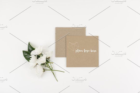 Brown Envelope with White Flowers by Sarah Simpson -ArtTec on @creativemarket