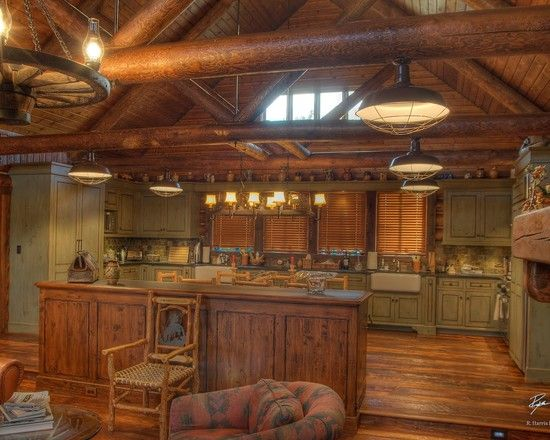 Traditional Kitchen Log Cabin Decorating Design, Pictures, Remodel, Decor and Ideas - page 24