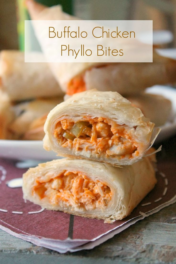 Buffalo chicken phyllo bites love your phyllo for Phyllo dough recipes appetizers indian