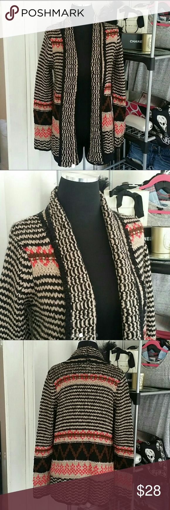 PINK REPUBLIC TRIBAL CARDIGAN SZ M Pink Republic Tribal / Aztec Sweater Cardigan Size Medium. Material is 100 % Acrylic. Pink Rose Sweaters Cardigans
