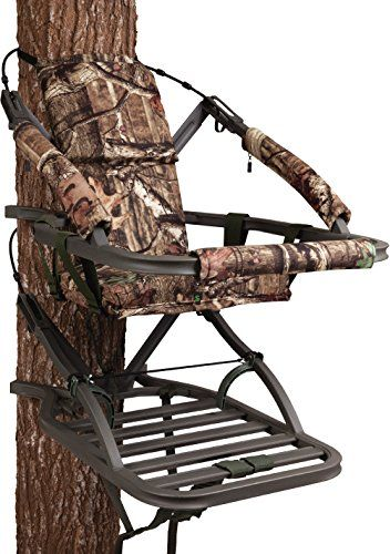 "Summit Treestands Goliath SD Climbing Treestand, Mossy Oak. Closed-front aluminum climbing stand with Mossy Oak® Break-Up Infinity camo finish. Suspended foam-padded seat with backrest. Weighs 25 lbs. and holds up to 350 lbs. 18"" W x 12"" D seat size, 21""W x 30.75"" D platform size. Includes Full Body Fall Arrest Harness System and all necessary hardware."