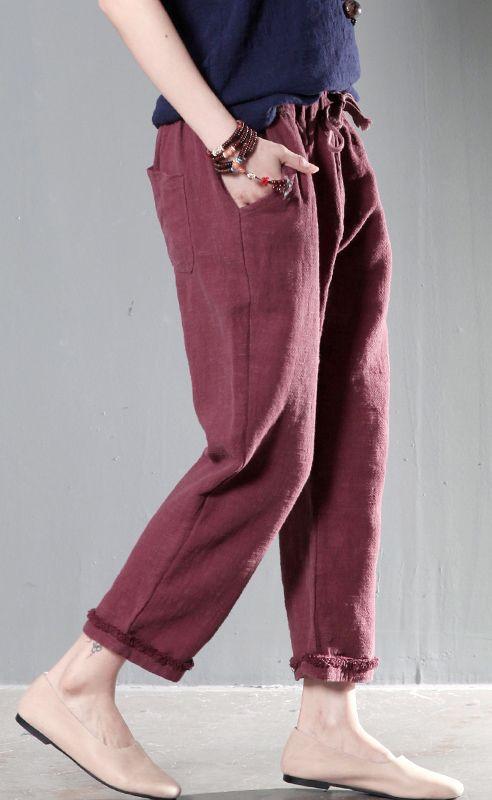 Brick red linen plus size pants