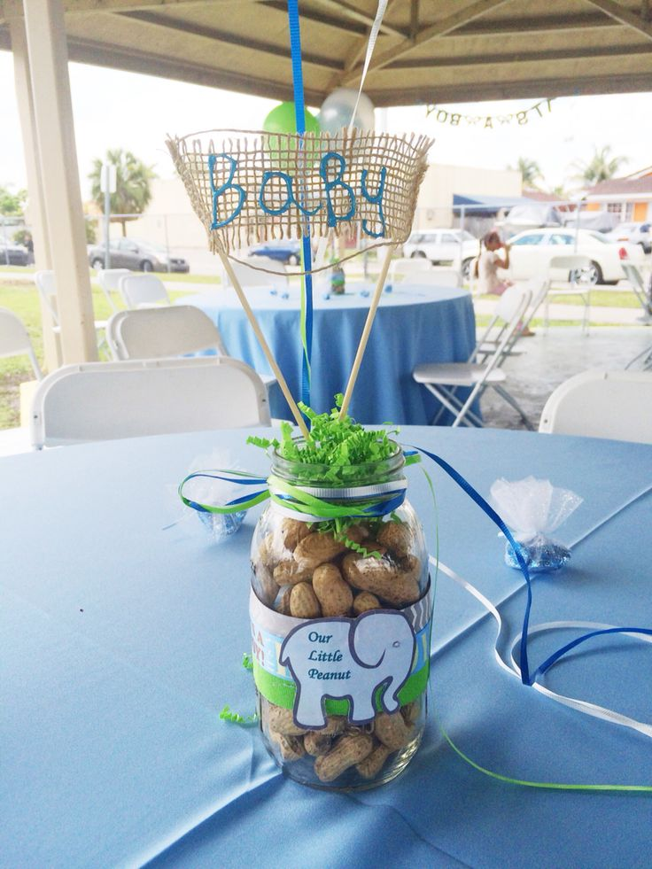 Elephant Center Piece Boy Baby Shower Baby Blue Peanuts Green. Email:  Kycedoshop@gmail