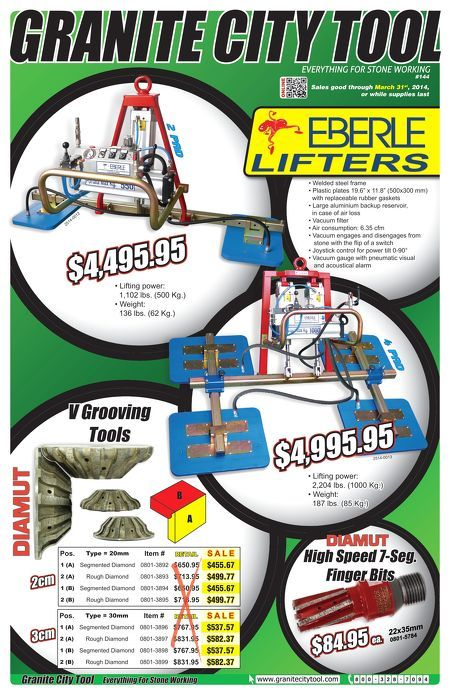 March 2014 Flyer showing our new Eberle Lifters and Diamut Tooling!