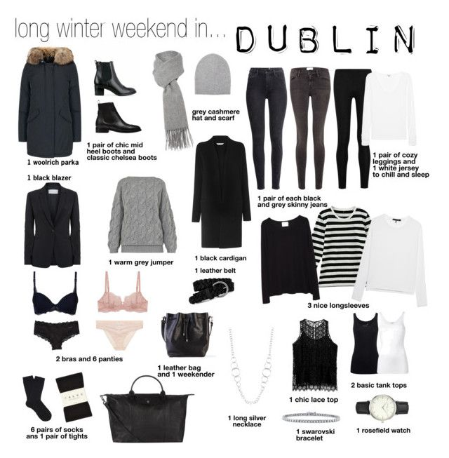 """The packing list - long winter weekend in Dublin"" by sara-sarenka on Polyvore featuring Woolrich, BOSS Hugo Boss, Balenciaga, Boutique Moschino, Marc by Marc Jacobs, H&M, Frame Denim, Donna Karan, AV by Adriana Voloshchuk and Juvia"