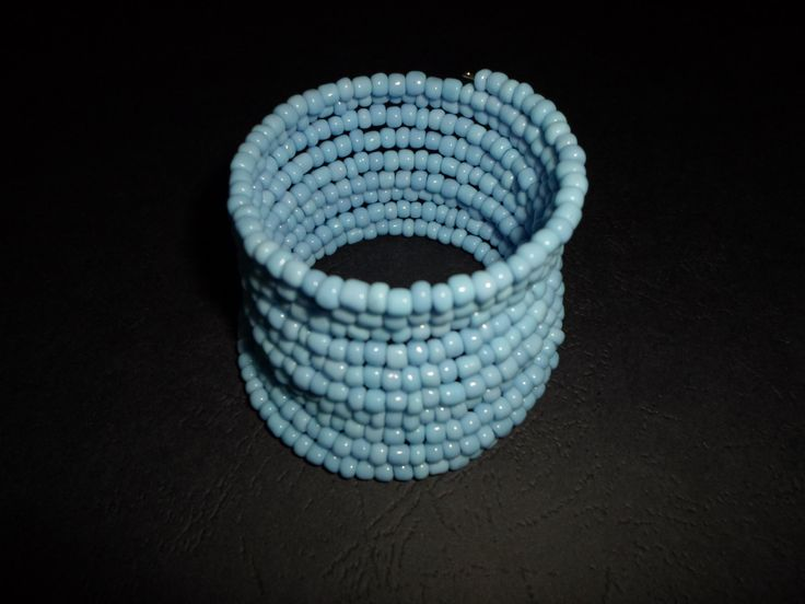 Light blue glass seed beads bracelet. Wire wrapped silver bracelet. by SiDaStyle on Etsy