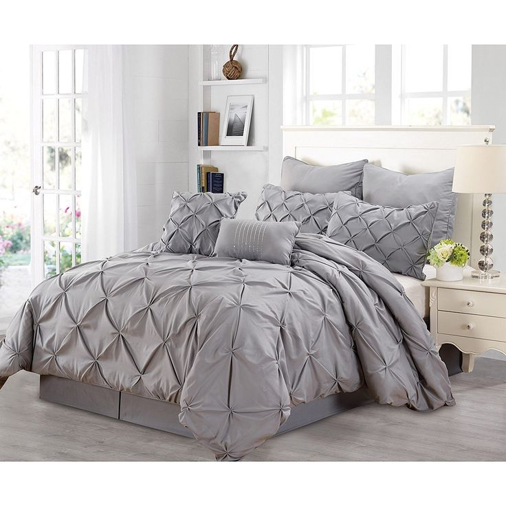 Best Slate Grey Pintuck Comforter King Set Gray *D*Lt Bedding 400 x 300