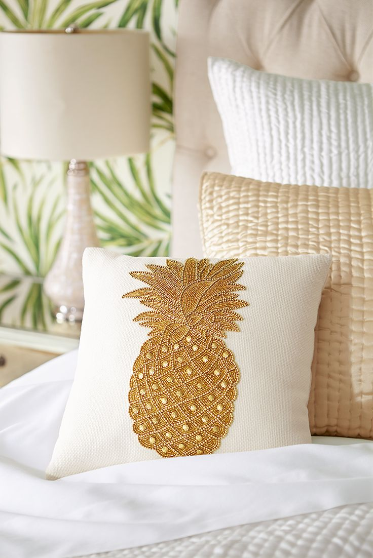 You may not be able to take an exotic tropical vacation this summer, but you can make your own bedroom feel like a five-star resort with a few elegant touches from Pier 1—like our luxurious, hand-beaded Tropical Beaded Pineapple Velvet Pillow.