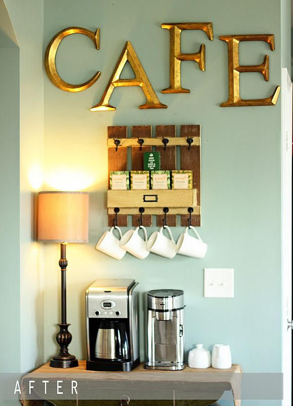 Coffee Bar..so dang cute. change to be tea and hot chocolate and i love it. also use shelves not hooks for mugs