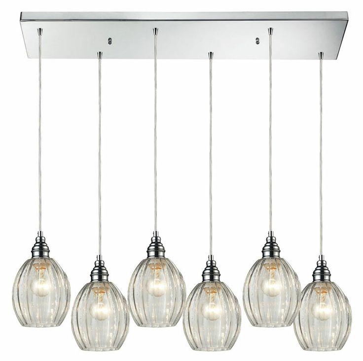 elk 460176rc danica rectangle canopy 6 lamp polished chrome multi pendant